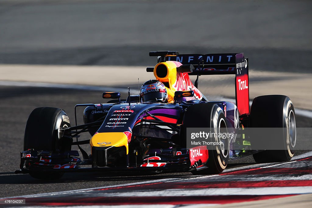 Sebastian Vettel of Germany and Infiniti Red Bull Racing drives during day four of Formula One Winter Testing at the Bahrain International Circuit on March 2, 2014 in Bahrain, Bahrain.