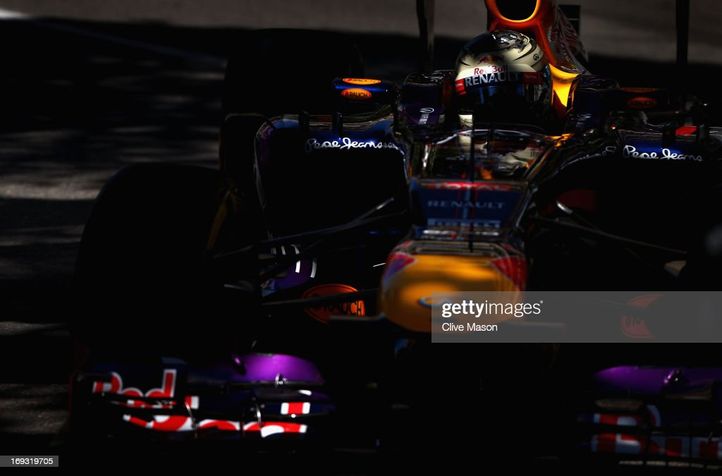 Sebastian Vettel of Germany and Infiniti Red Bull Racing drives during practice for the Monaco Formula One Grand Prix at the Circuit de Monaco on May 23, 2013 in Monte-Carlo, Monaco.
