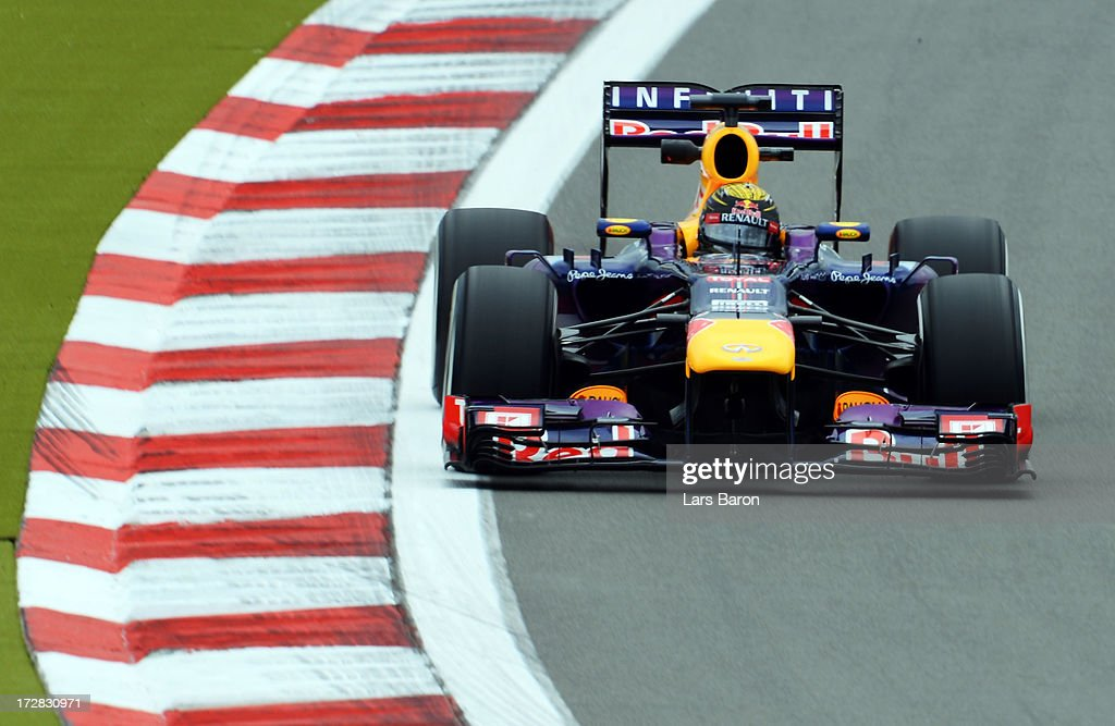 Sebastian Vettel of Germany and Infiniti Red Bull Racing drives during practice for the German Grand Prix at the Nuerburgring on July 5, 2013 in Nuerburg, Germany.