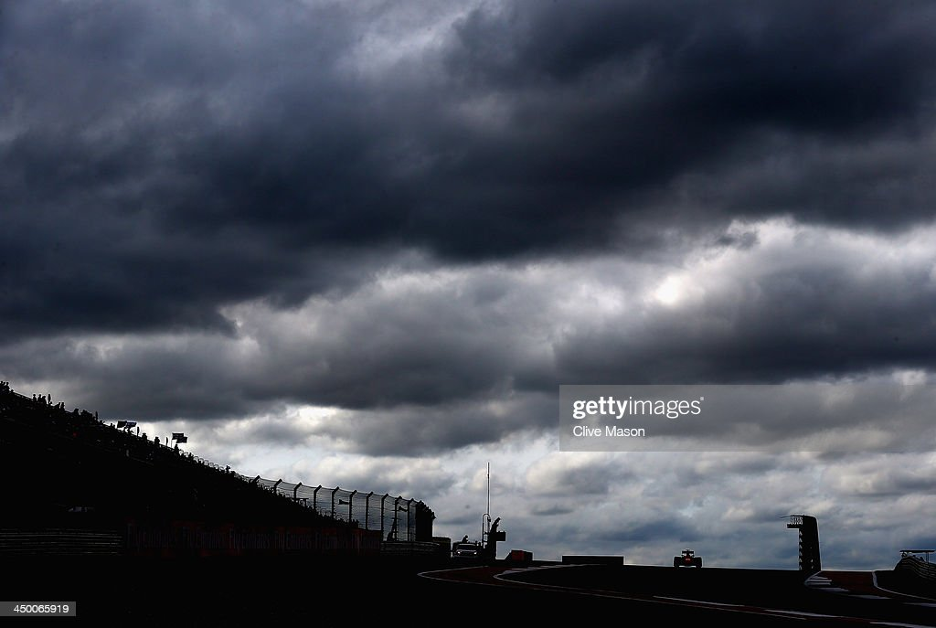 Sebastian Vettel of Germany and Infiniti Red Bull Racing drives during qualifying for the United States Formula One Grand Prix at Circuit of The...