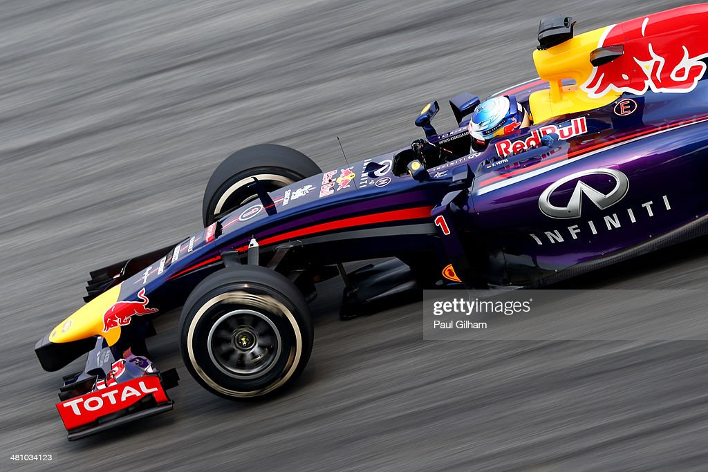 Sebastian Vettel of Germany and Infiniti Red Bull Racing drives during practice for the Malaysia Formula One Grand Prix at the Sepang Circuit on March 28, 2014 in Kuala Lumpur, Malaysia.