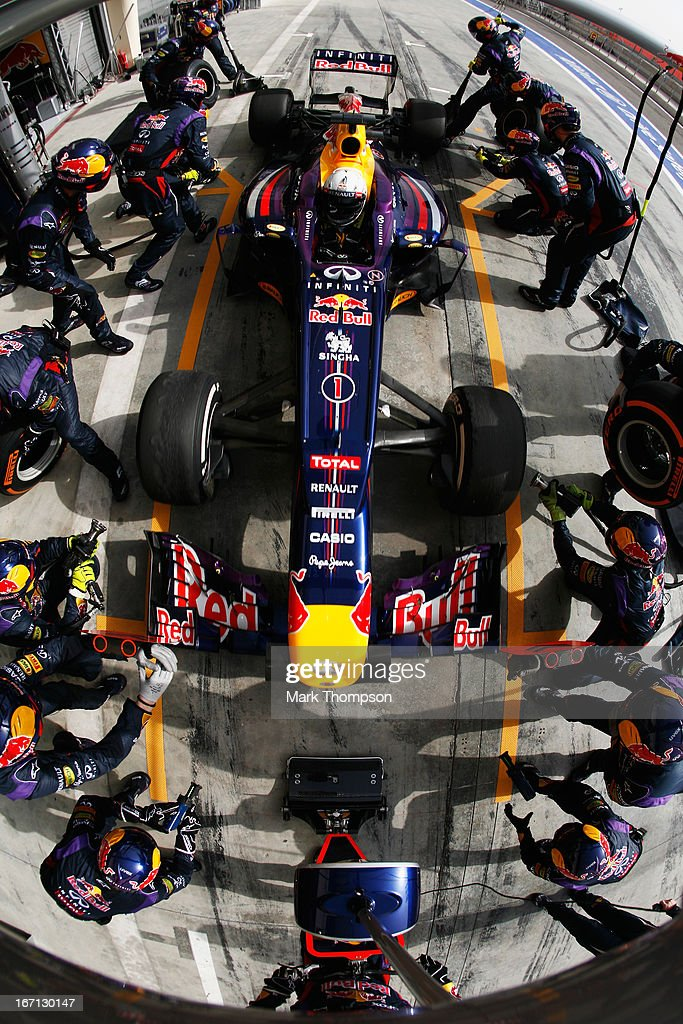 Sebastian Vettel of Germany and Infiniti Red Bull Racing drives in for a pitstop on his way to winning the Bahrain Formula One Grand Prix at the Bahrain International Circuit on April 21, 2013 in Sakhir, Bahrain.