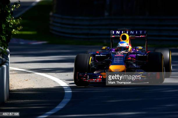 Sebastian Vettel of Germany and Infiniti Red Bull Racing drives during practice ahead of the Canadian Formula One Grand Prix at Circuit Gilles...