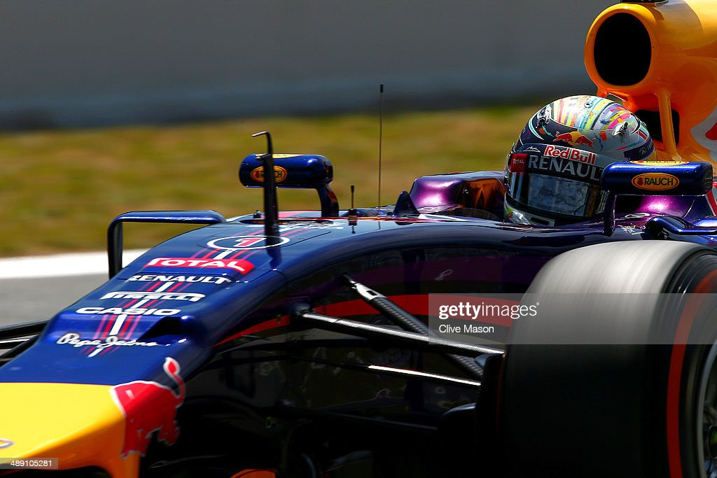 Sebastian Vettel of Germany and Infiniti Red Bull Racing drives during qualifying ahead of the Spanish F1 Grand Prix at Circuit de Catalunya on May 10, 2014 in Montmelo, Spain.