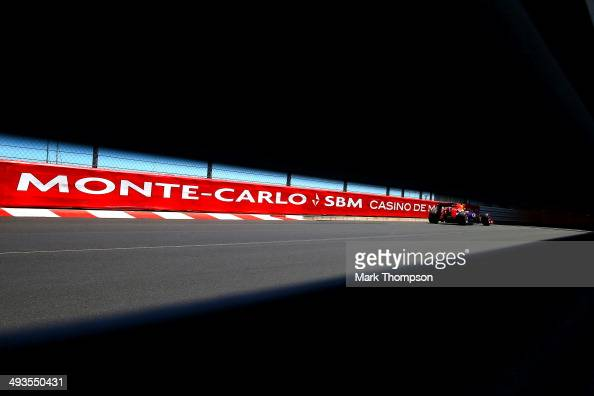 Sebastian Vettel of Germany and Infiniti Red Bull Racing drives during qualifying ahead of the Monaco Formula One Grand Prix at Circuit de Monaco on...