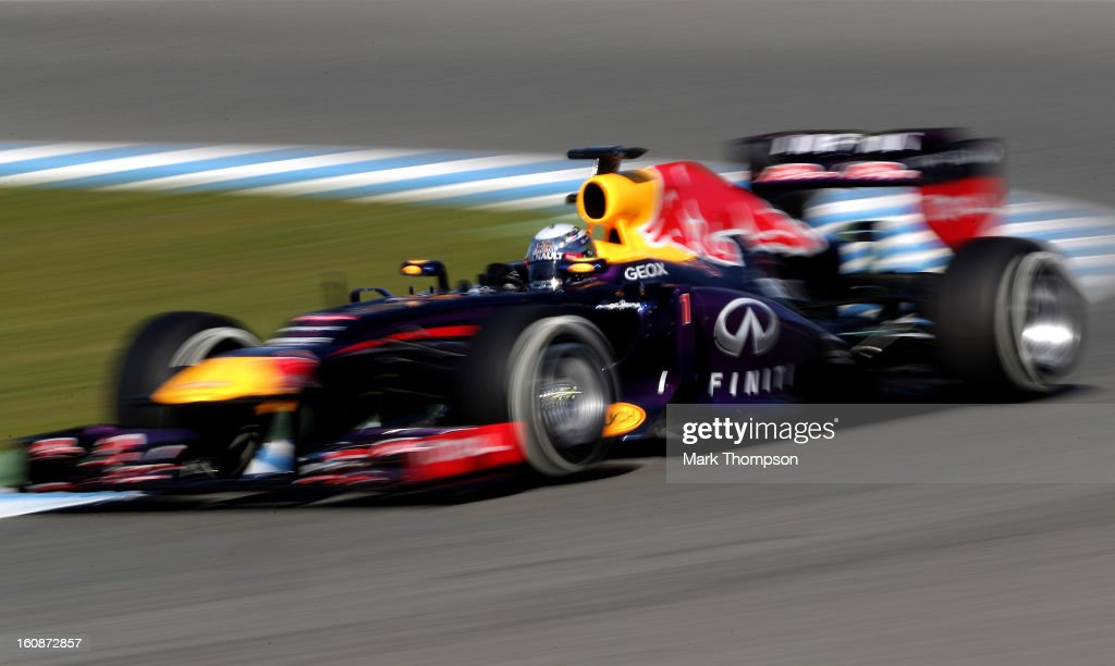<a gi-track='captionPersonalityLinkClicked' href=/galleries/search?phrase=Sebastian+Vettel&family=editorial&specificpeople=2233605 ng-click='$event.stopPropagation()'>Sebastian Vettel</a> of Germany and Infiniti Red Bull Racing drives during Formula One winter testing at Circuito de Jerez on February 7, 2013 in Jerez de la Frontera, Spain.