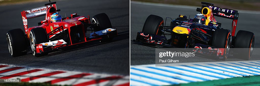 In this composite image a comparison has been made between Formula One drivers Sebastian Vettel and Fernando Alonso. Original image ids are 162197578, 160970449 JEREZ DE LA FRONTERA, SPAIN - FEBRUARY 08: Sebastian Vettel of Germany and Infiniti Red Bull Racing drives during Formula One winter testing at Circuito de Jerez on February 8, 2013 in Jerez de la Frontera, Spain.