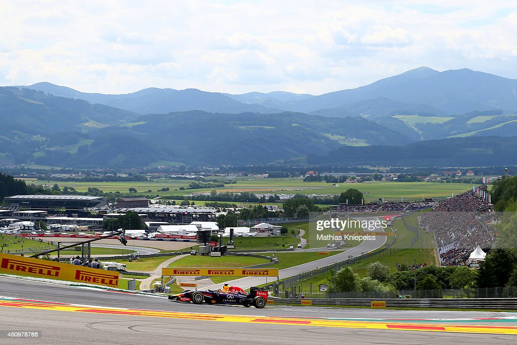 Sebastian Vettel of Germany and Infiniti Red Bull Racing drives during final practice ahead of the Austrian Formula One Grand Prix at Red Bull Ring...