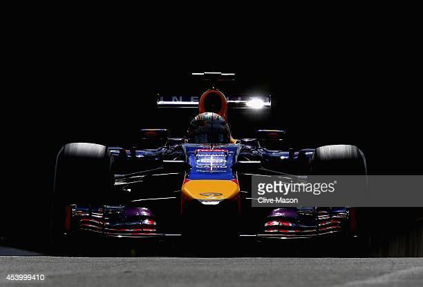 Sebastian Vettel of Germany and Infiniti Red Bull Racing drives during final practice ahead of the Belgian Grand Prix at Circuit de SpaFrancorchamps...