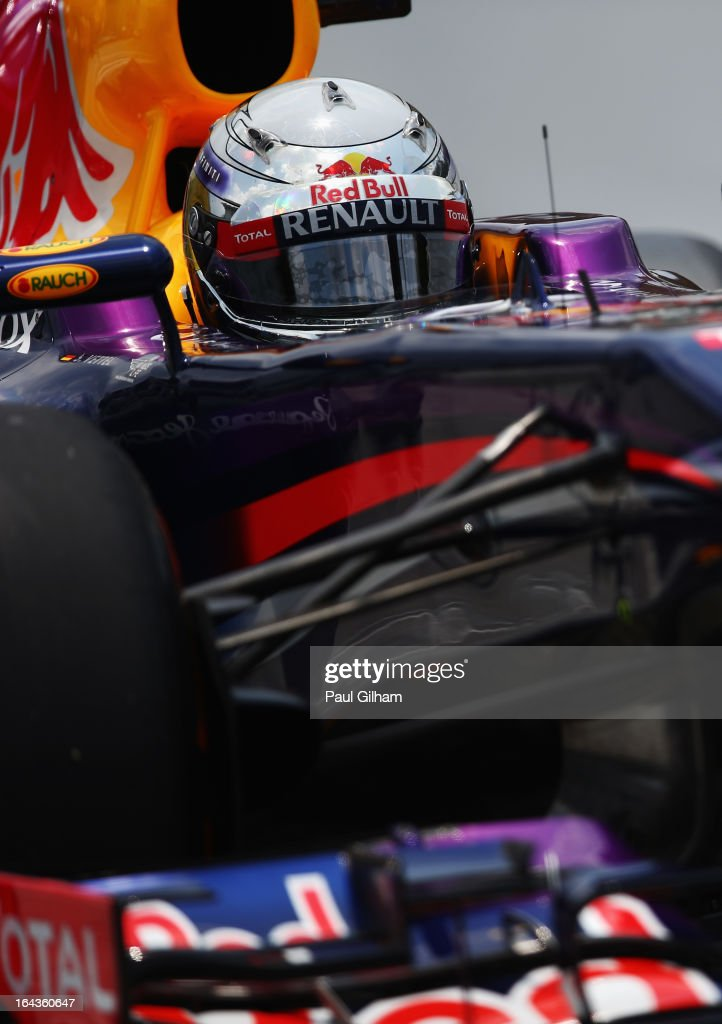 <a gi-track='captionPersonalityLinkClicked' href=/galleries/search?phrase=Sebastian+Vettel&family=editorial&specificpeople=2233605 ng-click='$event.stopPropagation()'>Sebastian Vettel</a> of Germany and Infiniti Red Bull Racing drives during the final practice session prior to qualifying for the Malaysian Formula One Grand Prix at the Sepang Circuit on March 23, 2013 in Kuala Lumpur, Malaysia.