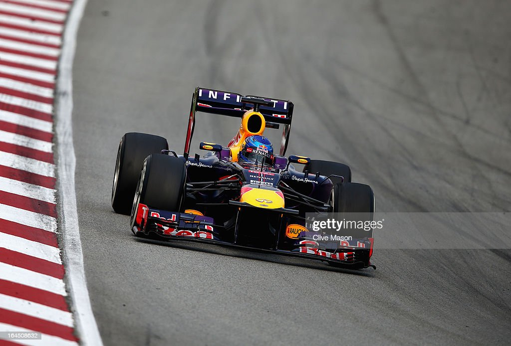 Sebastian Vettel of Germany and Infiniti Red Bull Racing drives during the Malaysian Formula One Grand Prix at the Sepang Circuit on March 24, 2013 in Kuala Lumpur, Malaysia.