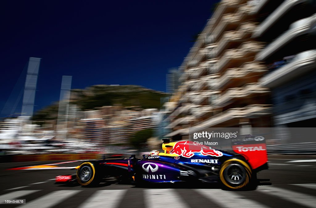 Sebastian Vettel of Germany and Infiniti Red Bull Racing drives during the final practice session prior to qualifying for the Monaco Formula One Grand Prix at the Circuit de Monaco on May 25, 2013 in Monte-Carlo, Monaco.