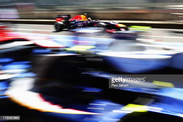 Sebastian Vettel of Germany and Infiniti Red Bull Racing drives during the final practice session prior to qualifying for the German Grand Prix at...