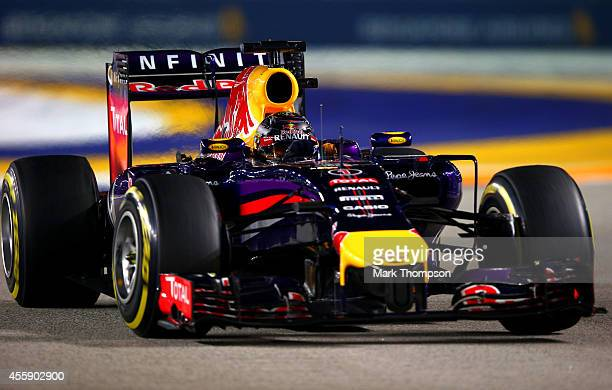 Sebastian Vettel of Germany and Infiniti Red Bull Racing drives during the Singapore Formula One Grand Prix at Marina Bay Street Circuit on September...