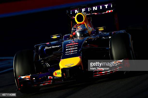 Sebastian Vettel of Germany and Infiniti Red Bull Racing drives during the Russian Formula One Grand Prix at Sochi Autodrom on October 12 2014 in...