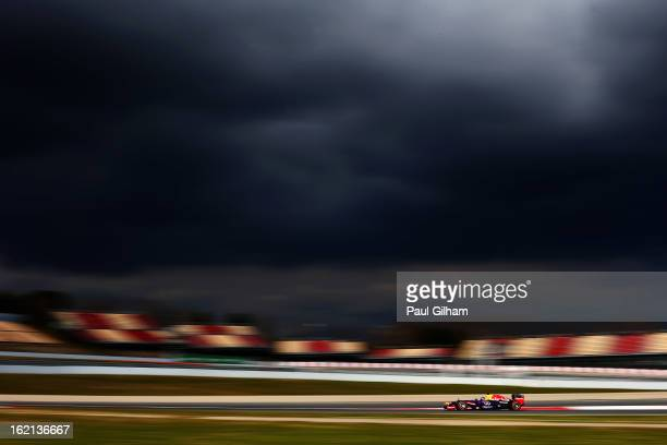 Sebastian Vettel of Germany and Infiniti Red Bull Racing in action during day one of F1 Testing at Circuit de Catalunya on February 19 2013 in...