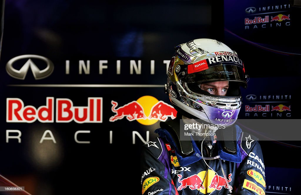 <a gi-track='captionPersonalityLinkClicked' href=/galleries/search?phrase=Sebastian+Vettel&family=editorial&specificpeople=2233605 ng-click='$event.stopPropagation()'>Sebastian Vettel</a> of Germany and Infiniti Red Bull Racing prepares to drive during Formula One winter testing at Circuito de Jerez on February 7, 2013 in Jerez de la Frontera, Spain.