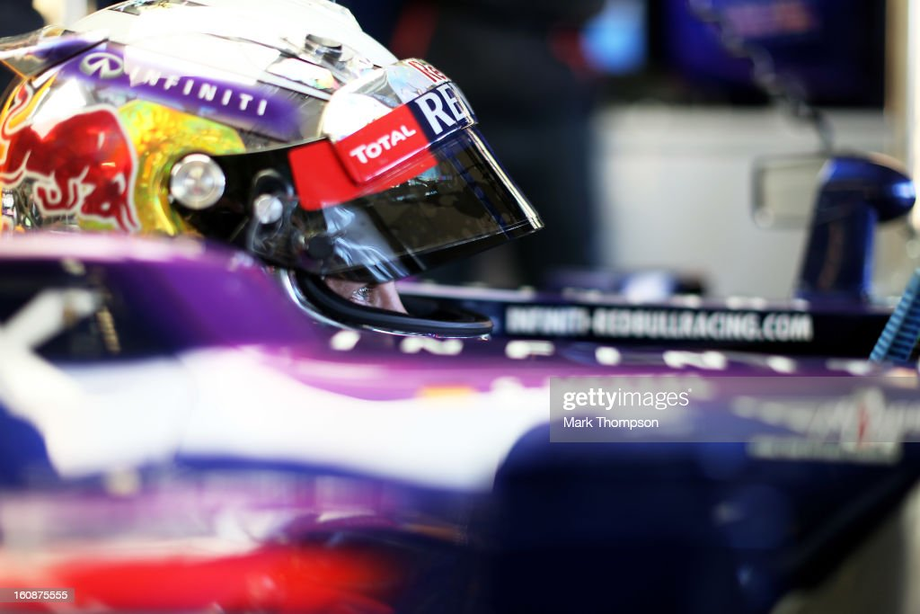 Sebastian Vettel of Germany and Infiniti Red Bull Racing prepares to drive during Formula One winter testing at Circuito de Jerez on February 7, 2013 in Jerez de la Frontera, Spain.