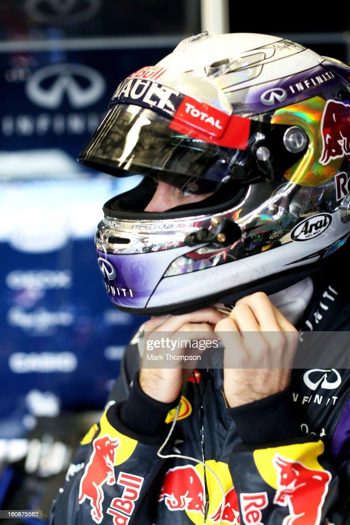 Sebastian Vettel of Germany and Infiniti Red Bull Racing prepares to drive during Formula One winter testing at Circuito de Jerez on February 7, 2013 in Jerez de la Frontera, Spain.