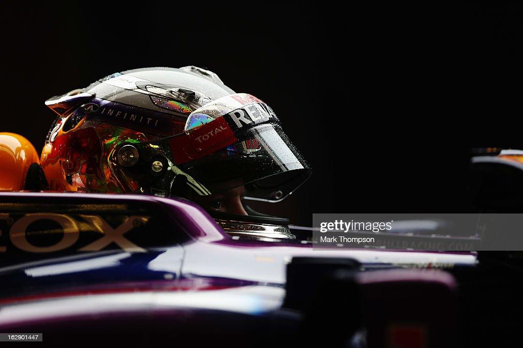 <a gi-track='captionPersonalityLinkClicked' href=/galleries/search?phrase=Sebastian+Vettel&family=editorial&specificpeople=2233605 ng-click='$event.stopPropagation()'>Sebastian Vettel</a> of Germany and Infiniti Red Bull Racing prepares to drive during day two of Formula One winter testing at the Circuit de Catalunya on March 1, 2013 in Montmelo, Spain.