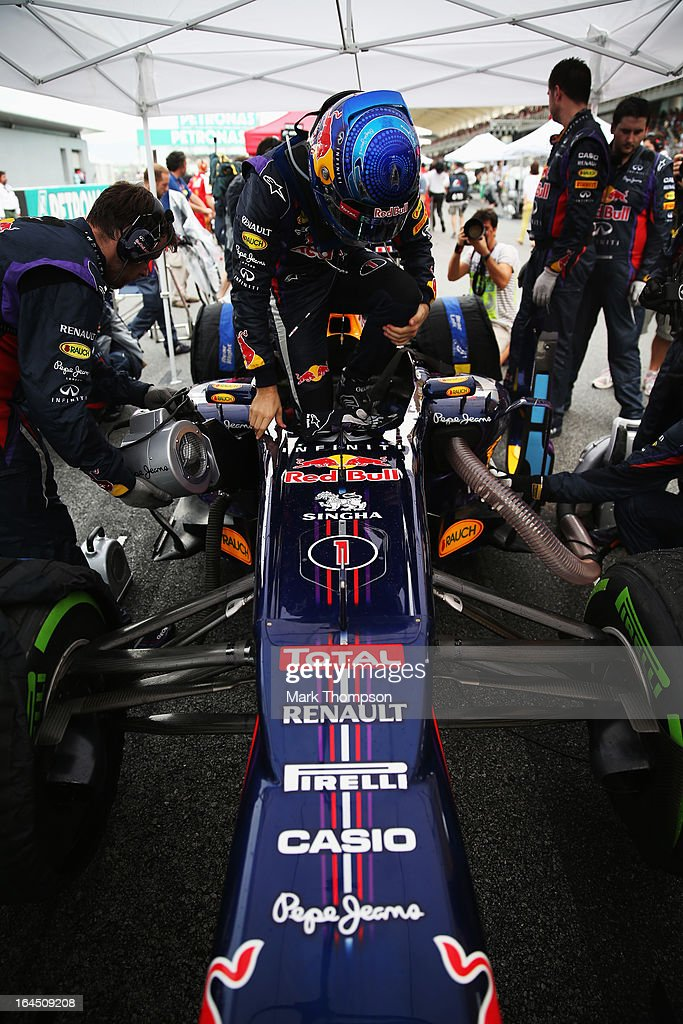 Sebastian Vettel of Germany and Infiniti Red Bull Racing prepares to drive during the Malaysian Formula One Grand Prix at the Sepang Circuit on March 24, 2013 in Kuala Lumpur, Malaysia.