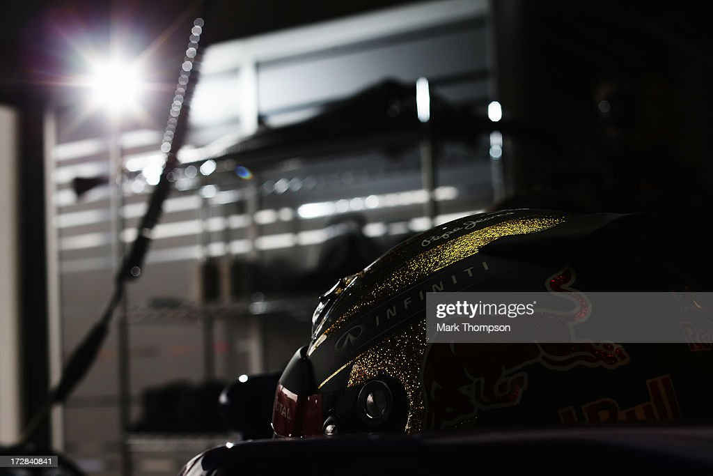 Sebastian Vettel of Germany and Infiniti Red Bull Racing prepares to drive during practice for the German Grand Prix at the Nuerburgring on July 5, 2013 in Nuerburg, Germany.