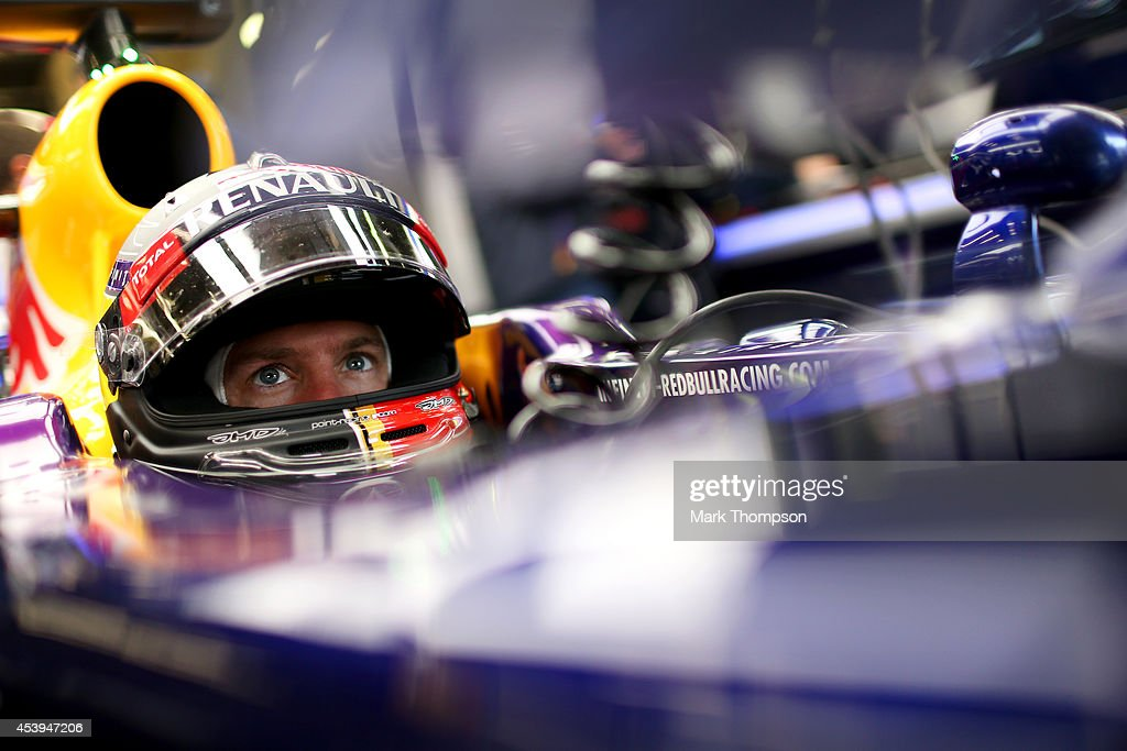 <a gi-track='captionPersonalityLinkClicked' href=/galleries/search?phrase=Sebastian+Vettel&family=editorial&specificpeople=2233605 ng-click='$event.stopPropagation()'>Sebastian Vettel</a> of Germany and Infiniti Red Bull Racing sits in his car in the garage during practice ahead of the Belgian Grand Prix at Circuit de Spa-Francorchamps on August 22, 2014 in Spa, Belgium.