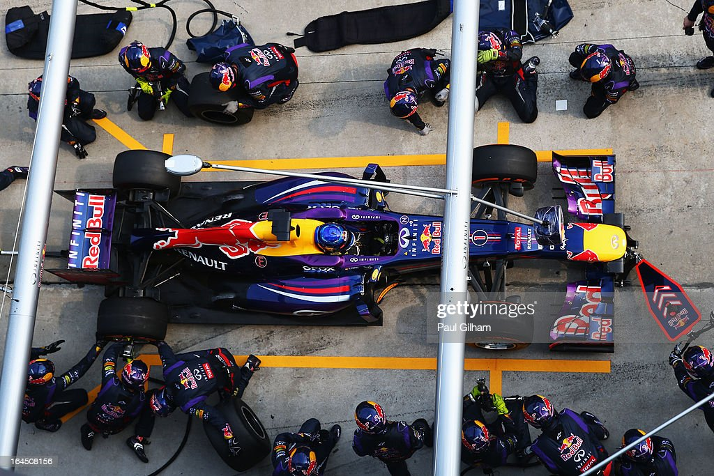 Sebastian Vettel of Germany and Infiniti Red Bull Racing stops for a pitstop during the Malaysian Formula One Grand Prix at the Sepang Circuit on March 24, 2013 in Kuala Lumpur, Malaysia.