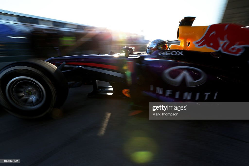 <a gi-track='captionPersonalityLinkClicked' href=/galleries/search?phrase=Sebastian+Vettel&family=editorial&specificpeople=2233605 ng-click='$event.stopPropagation()'>Sebastian Vettel</a> of Germany and Infiniti Red Bull Racingleaves the garage during Formula One winter testing at Circuito de Jerez on February 7, 2013 in Jerez de la Frontera, Spain.