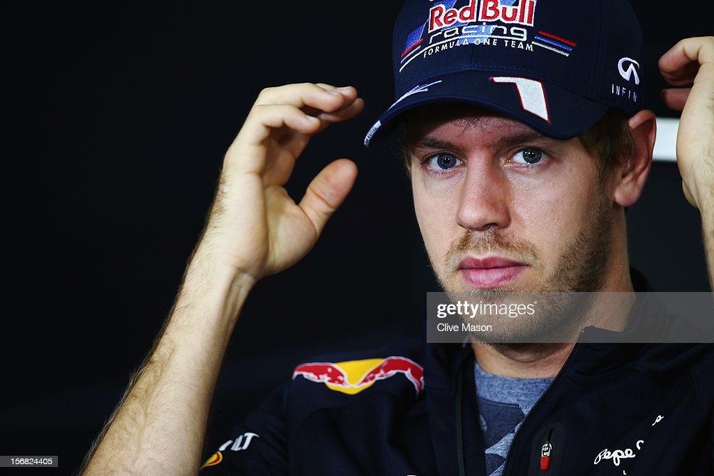 <a gi-track='captionPersonalityLinkClicked' href=/galleries/search?phrase=Sebastian+Vettel&family=editorial&specificpeople=2233605 ng-click='$event.stopPropagation()'>Sebastian Vettel</a> of Germany and Red Bull Racing attends the drivers press conference during previews for the Brazilian Formula One Grand Prix at the Autodromo Jose Carlos Pace on November 22, 2012 in Sao Paulo, Brazil.