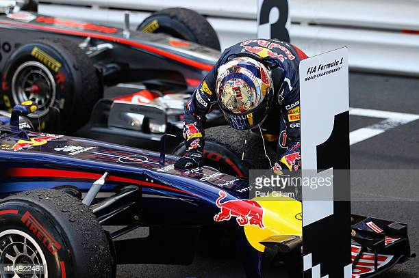Sebastian Vettel of Germany and Red Bull Racing celebrates after winning the Monaco Formula One Grand Prix at the Monte Carlo Circuit on May 29 2011...