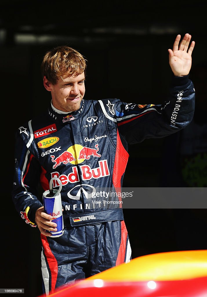 Sebastian Vettel of Germany and Red Bull Racing celebrates finishing first during qualifying for the United States Formula One Grand Prix at the Circuit of the Americas on November 17, 2012 in Austin, Texas.