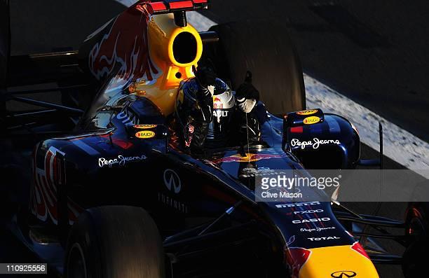 Sebastian Vettel of Germany and Red Bull Racing celebrates winning the Australian Formula One Grand Prix at the Albert Park Circuit on March 27 2011...