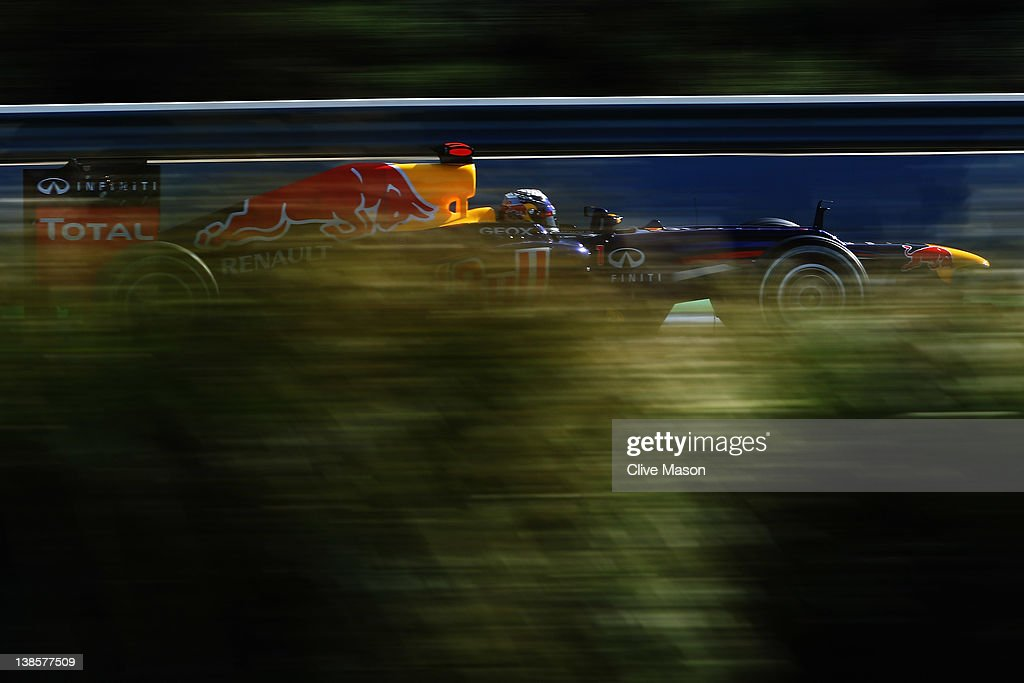 <a gi-track='captionPersonalityLinkClicked' href=/galleries/search?phrase=Sebastian+Vettel&family=editorial&specificpeople=2233605 ng-click='$event.stopPropagation()'>Sebastian Vettel</a> of Germany and Red Bull Racing drives during day three of Formula One winter testing at the Circuito de Jerez on February 9, 2012 in Jerez de la Frontera, Spain.