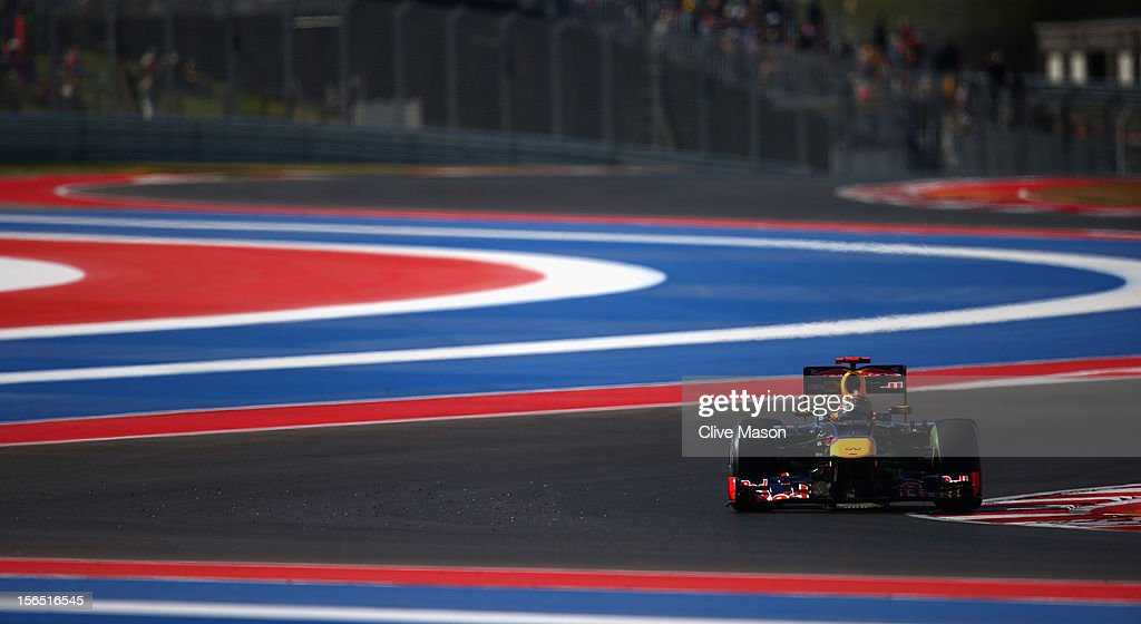 Sebastian Vettel of Germany and Red Bull Racing drives during practice for the United States Formula One Grand Prix at the Circuit of the Americas on November 16, 2012 in Austin, Texas.