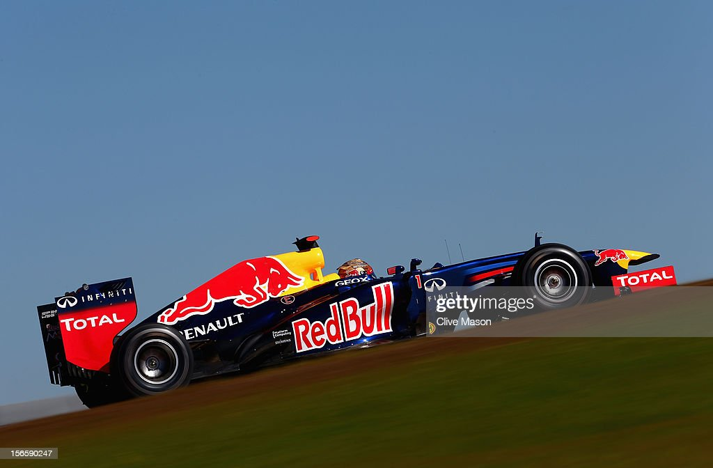 Sebastian Vettel of Germany and Red Bull Racing drives during qualifying for the United States Formula One Grand Prix at the Circuit of the Americas on November 17, 2012 in Austin, Texas.