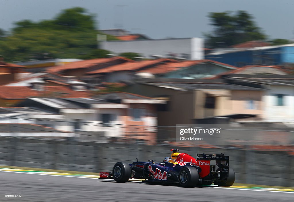 Sebastian Vettel of Germany and Red Bull Racing drives during practice for the Brazilian Formula One Grand Prix at the Autodromo Jose Carlos Pace on November 23, 2012 in Sao Paulo, Brazil.
