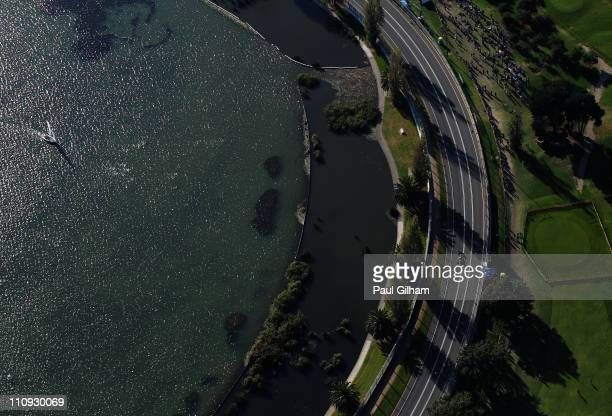 Sebastian Vettel of Germany and Red Bull Racing drives during the Australian Formula One Grand Prix at the Albert Park Circuit on March 27 2011 in...