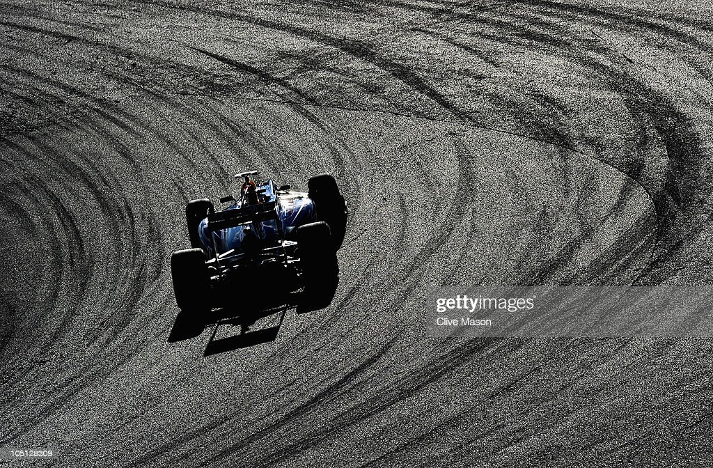 Sebastian Vettel of Germany and Red Bull Racing drives on his way to winning the Japanese Formula One Grand Prix at Suzuka Circuit on October 10, 2010 in Suzuka, Japan.