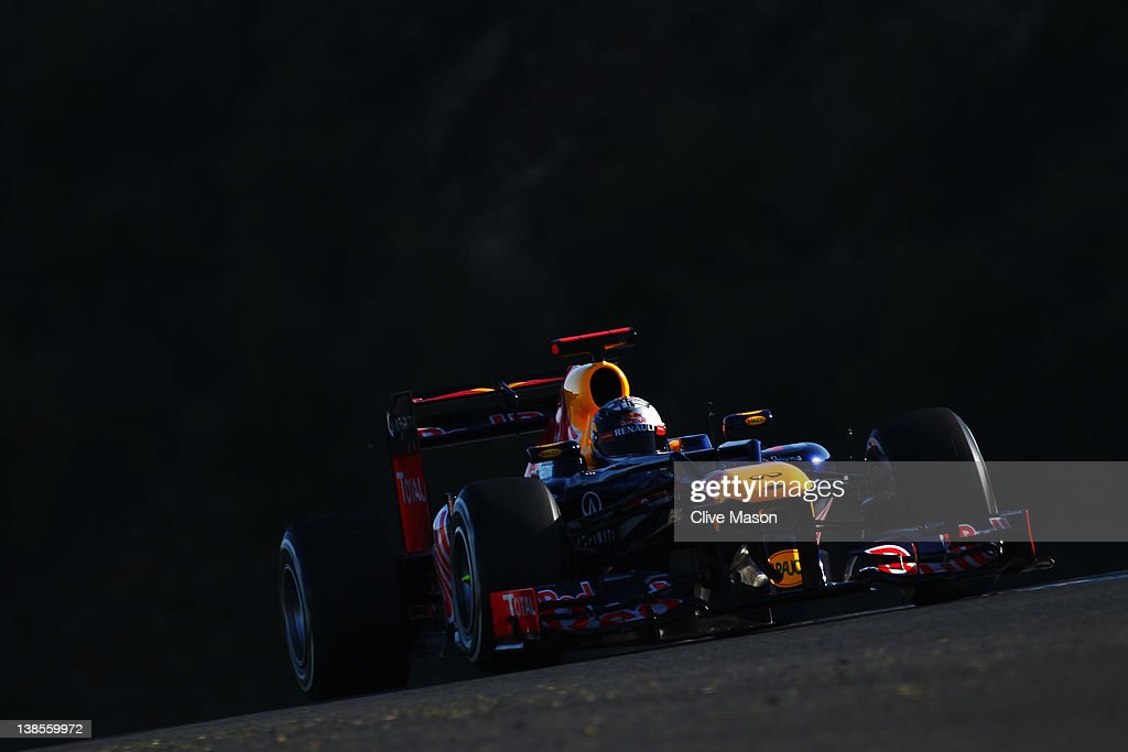 <a gi-track='captionPersonalityLinkClicked' href=/galleries/search?phrase=Sebastian+Vettel&family=editorial&specificpeople=2233605 ng-click='$event.stopPropagation()'>Sebastian Vettel</a> of Germany and Red Bull Racing drives the new Red Bull Racing RB8 during day three of Formula One winter testing at the Circuito de Jerez on February 9, 2012 in Jerez de la Frontera, Spain.