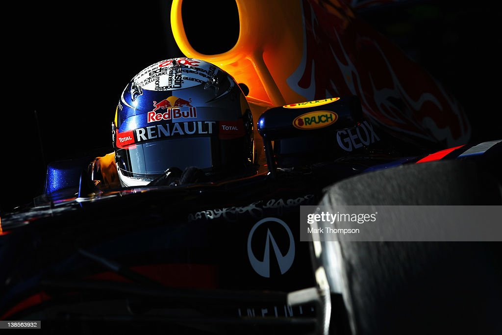<a gi-track='captionPersonalityLinkClicked' href=/galleries/search?phrase=Sebastian+Vettel&family=editorial&specificpeople=2233605 ng-click='$event.stopPropagation()'>Sebastian Vettel</a> of Germany and Red Bull Racing exits his team garage to drive the new Red Bull Racing RB8 during day three of Formula One winter testing at the Circuito de Jerez on February 9, 2012 in Jerez de la Frontera, Spain.