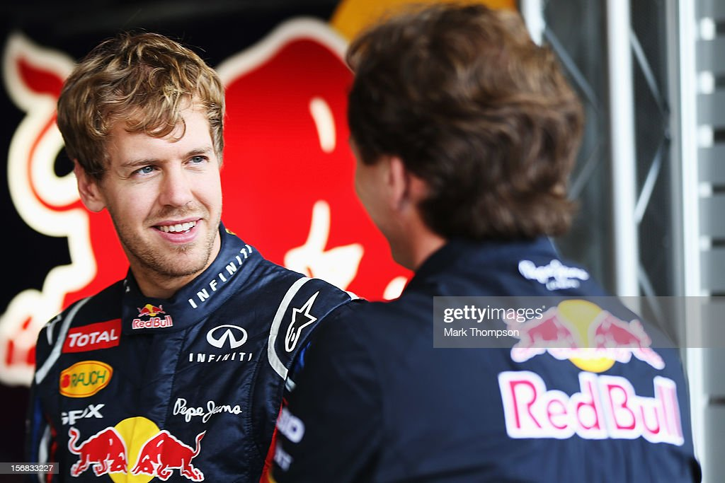 Sebastian Vettel of Germany and Red Bull Racing is seen in his team garage during previews for the Brazilian Formula One Grand Prix at the Autodromo Jose Carlos Pace on November 22, 2012 in Sao Paulo, Brazil.