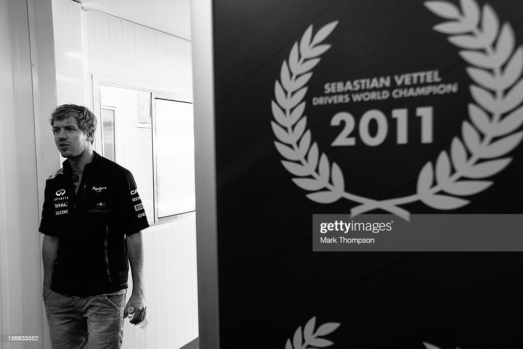 Sebastian Vettel of Germany and Red Bull Racing is seen in his team hospitaly unit during previews for the Brazilian Formula One Grand Prix at the Autodromo Jose Carlos Pace on November 22, 2012 in Sao Paulo, Brazil.