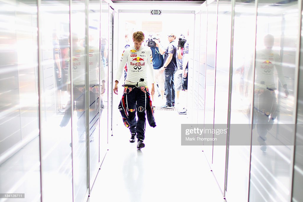 <a gi-track='captionPersonalityLinkClicked' href=/galleries/search?phrase=Sebastian+Vettel&family=editorial&specificpeople=2233605 ng-click='$event.stopPropagation()'>Sebastian Vettel</a> of Germany and Red Bull Racing prepares to drive during qualifying for the Brazilian Formula One Grand Prix at the Autodromo Jose Carlos Pace on November 26, 2011 in Sao Paulo, Brazil.