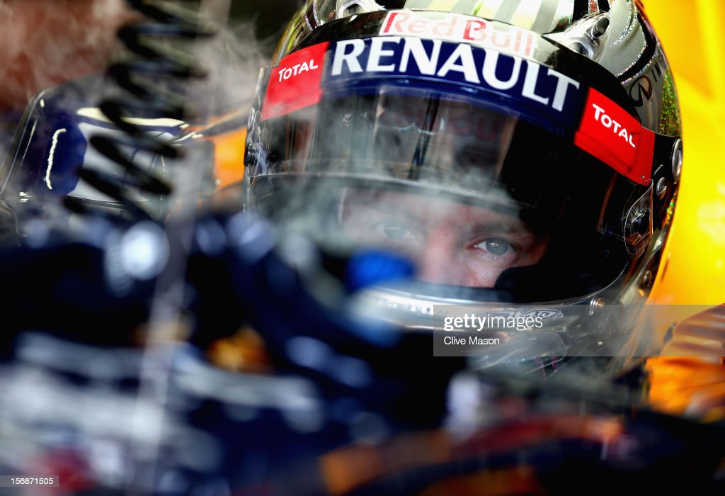 Sebastian Vettel of Germany and Red Bull Racing prepares to drive during practice for the Brazilian Formula One Grand Prix at the Autodromo Jose Carlos Pace on November 23, 2012 in Sao Paulo, Brazil.