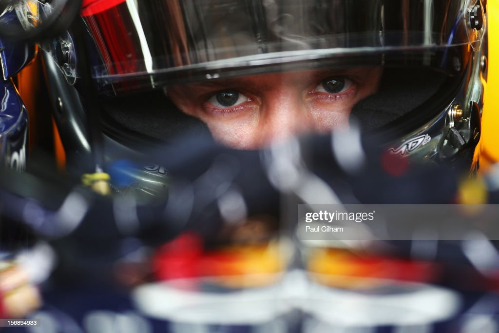<a gi-track='captionPersonalityLinkClicked' href=/galleries/search?phrase=Sebastian+Vettel&family=editorial&specificpeople=2233605 ng-click='$event.stopPropagation()'>Sebastian Vettel</a> of Germany and Red Bull Racing prepares to drive during the final practice session prior to qualifying for the Brazilian Formula One Grand Prix at the Autodromo Jose Carlos Pace on November 24, 2012 in Sao Paulo, Brazil.
