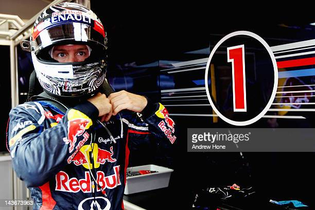 Sebastian Vettel of Germany and Red Bull Racing prepares to go out onto track during Formula One Testing at the Mugello Circuit on May 2 2012 in...