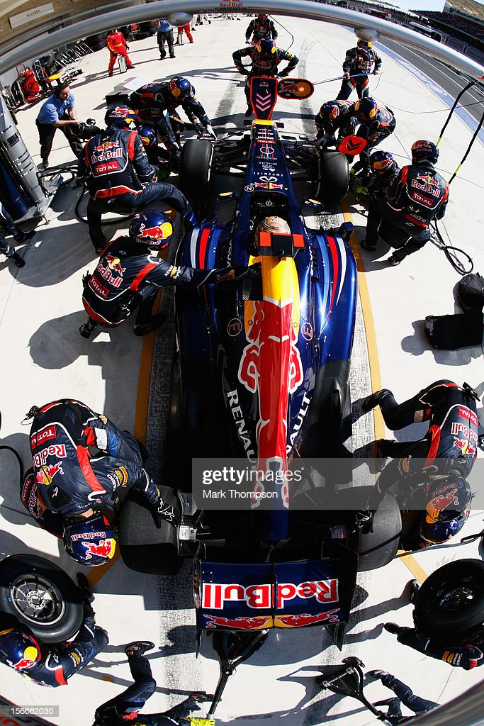 Sebastian Vettel of Germany and Red Bull Racing stops for a pitstop during the United States Formula One Grand Prix at the Circuit of the Americas on November 18, 2012 in Austin, Texas.