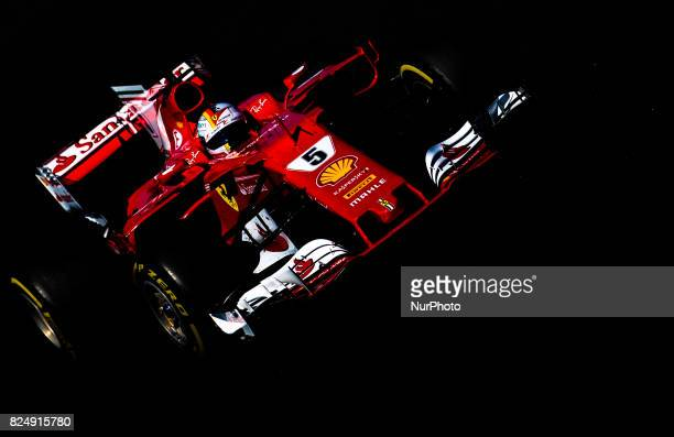 Sebastian Vettel of Germany and Scuderia Ferrari driver goes during the race at Pirelli Hungarian Formula 1 Grand Prix on Jul 30 2017 in Mogyoród...