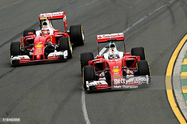 Sebastian Vettel of Germany drives the Scuderia Ferrari SF16H Ferrari 059/5 turbo and Kimi Raikkonen of Finland drives the Scuderia Ferrari SF16H...